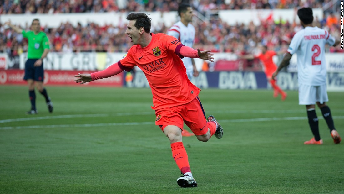 Messi scores Barcelona's opening goal of the 2-2 draw at Sevilla. He now has 35 goals in La Liga this season and 46 overall.