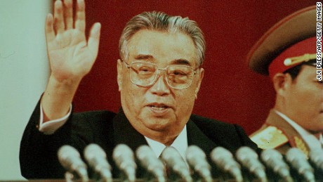 PYONGYANG, NORTH KOREA: This file picture dated 15 April 1992 shows North Korean President Kim Il-Sung waving during the celebration marking his 80th birthday at Kim Il-Sung stadium in Pyongyang. The Chinese government announced last week it would not send 'anyone' to attend Il-Sung's 92nd anniversary in response to North Korea's refusal of international nuclear inspections. (Photo credit should read JIJI PRESS/AFP/Getty Images)