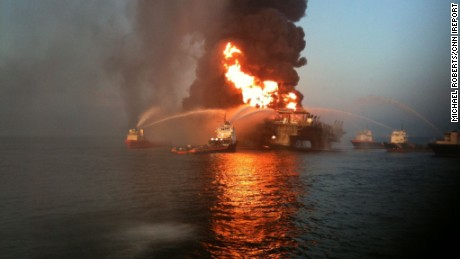 Boats fight the blaze after the Deepwater Horizon oil rig exploded.