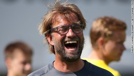 Klopp laughs during a training session in a Borussia Dortmund training camp in July 2014.