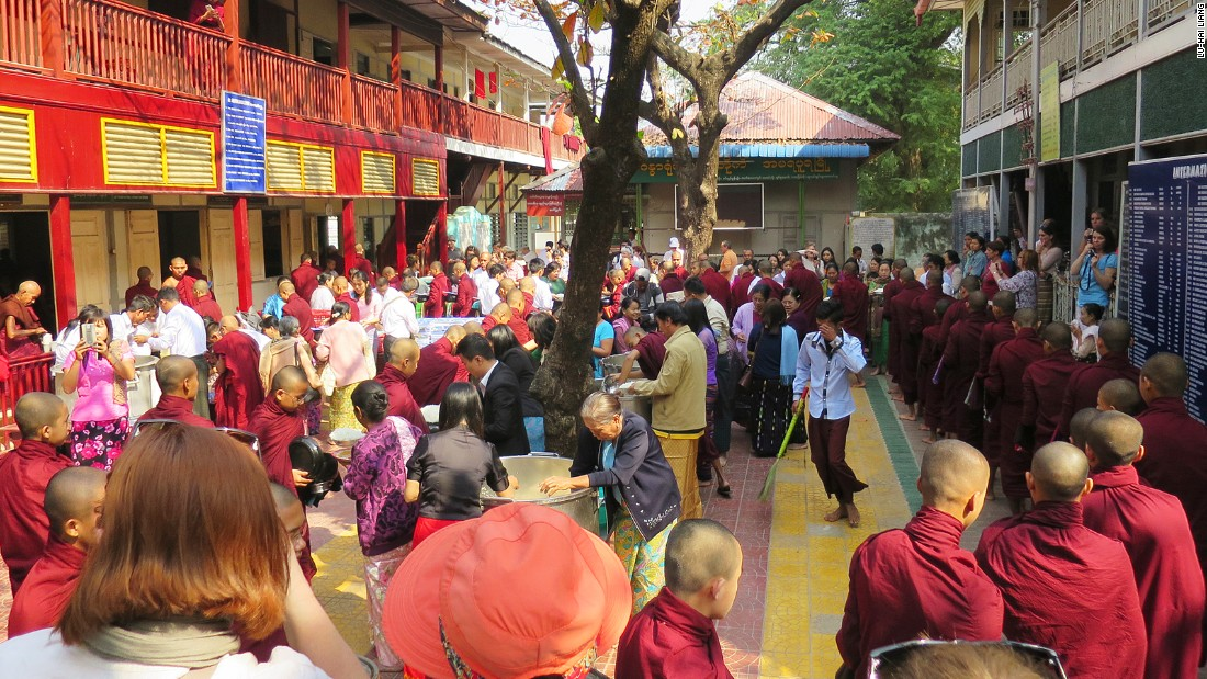 Tourists come to see the monks lining up and eating lunch at the unusually early hour. The monks aren't allowed to eat from noon until breakfast time the next day.