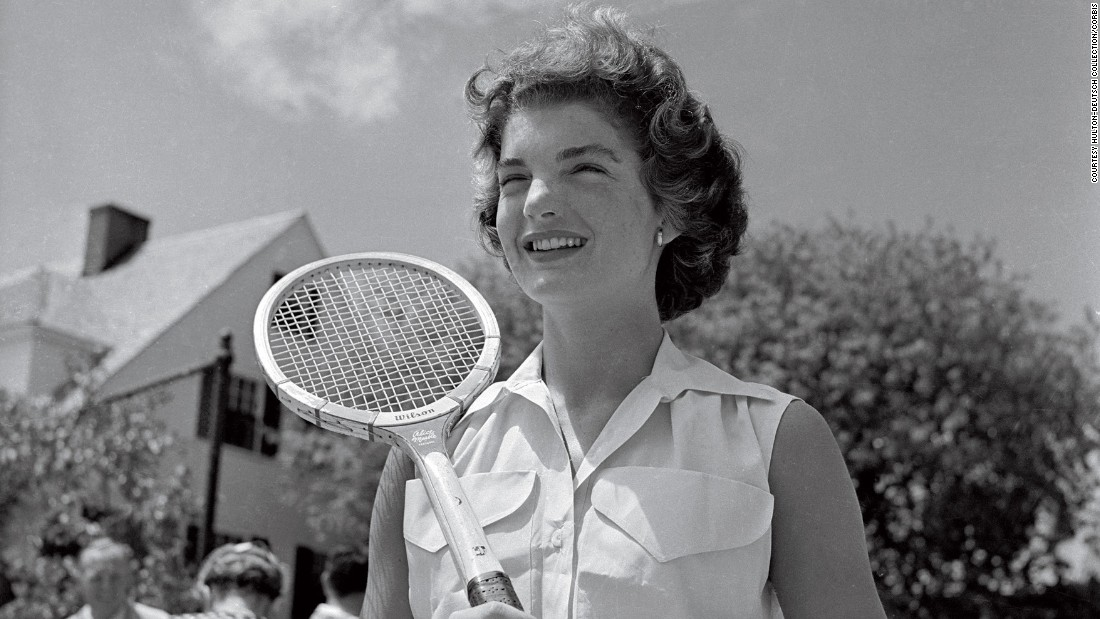 "Former U.S. First Lady Jackie Kennedy adds a touch of glamor to the sport in 1953. The image also features in the book,<a href=""http://www.teneues.com/shop-int/the-stylish-life-tennis2.html"" target=""_blank""> ""The Stylish Life: Tennis,""</a> published by teNeues, courtesy Hulton-Deutsch Collection/CORBIS."