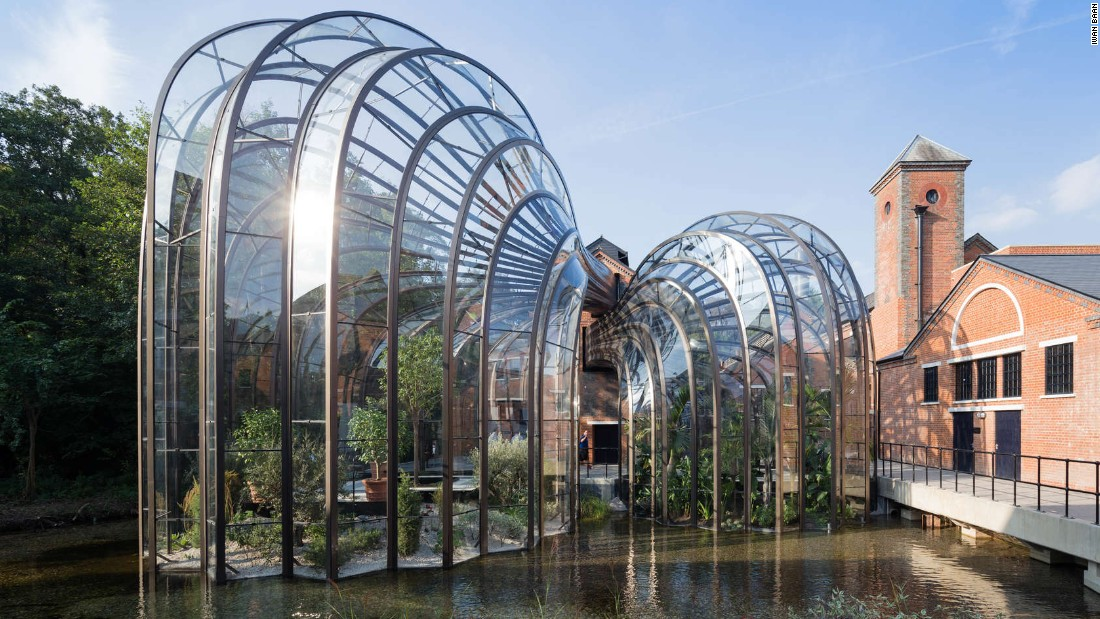 Gin-maker Bombay Sapphire commissioned  Heatherwick Studio to design the company's first in-house production facility, which is also open for tours. Once a water-powered paper mill, the site contained more than 40 derelict buildings, which have been restored as part of Heatherwick Studio's master plan, says the firm.