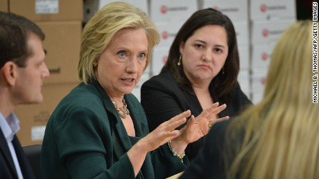 Hillary Clinton participates in a small-business roundtable discussion with members of the small-business community on April 15, 2015, in Norwalk, Iowa.