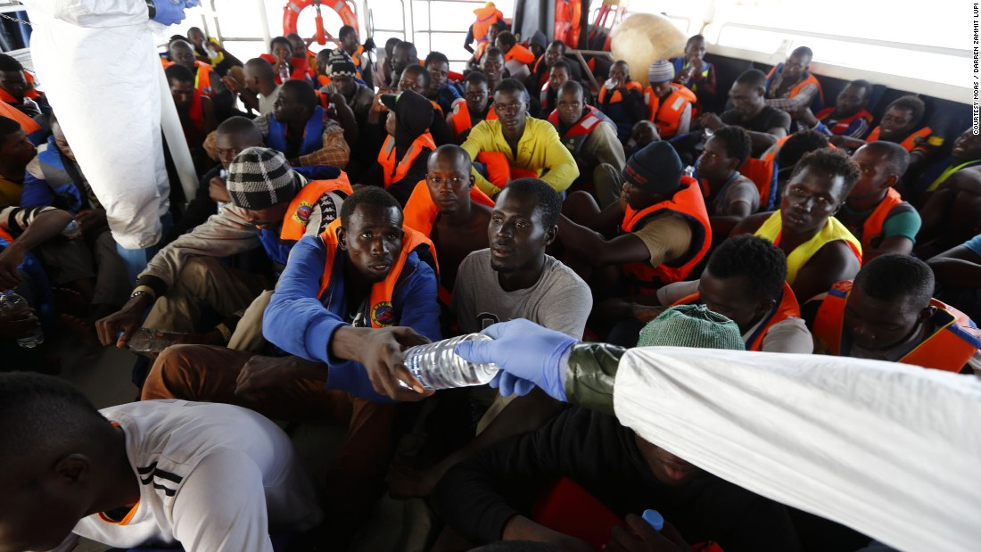 """When you look in their eyes, you see their desperation,"" said Regina, adding that MOAS operates around 40 miles from Libyan shores."