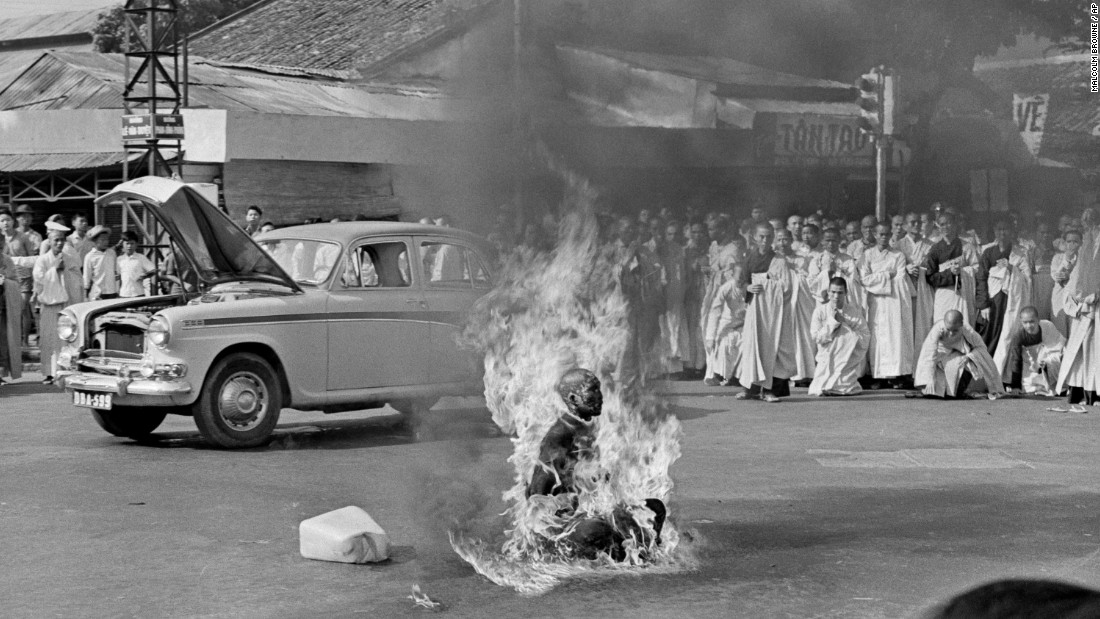 Thich Quang Duc, a Buddhist monk, burns himself to death on a street in Saigon -- the capital of South Vietnam -- on June 11, 1963. He lit himself on fire to protest alleged persecution of Buddhists by the South Vietnamese government.