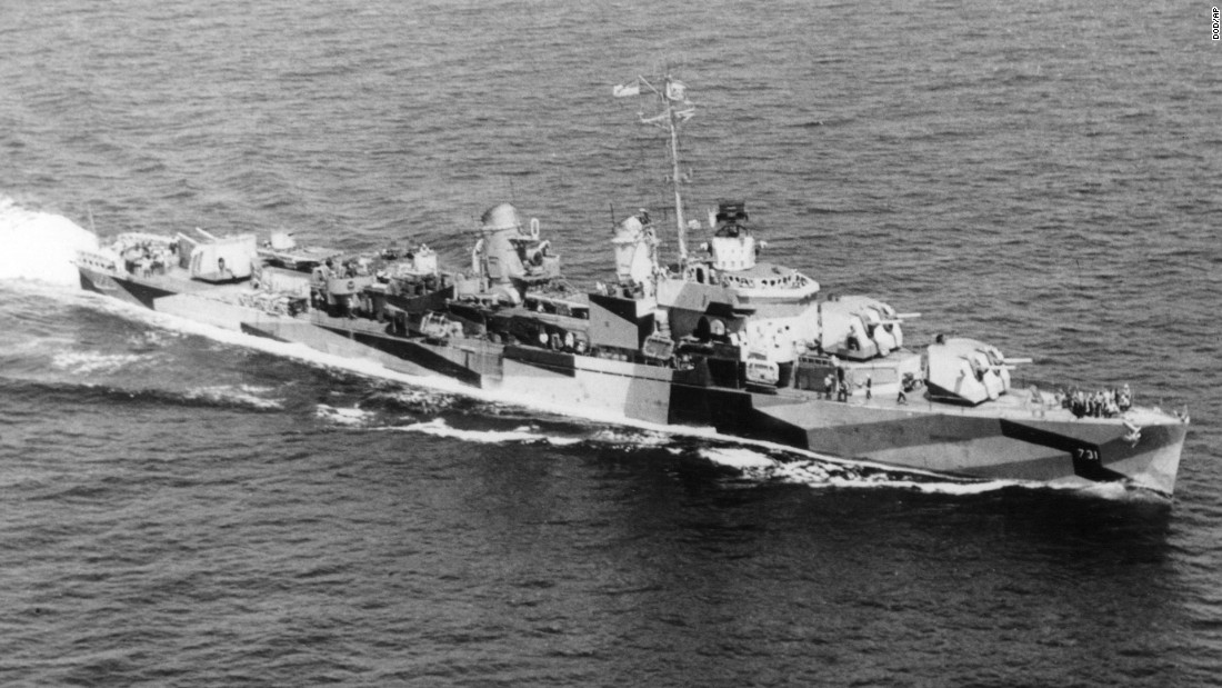 The U.S. Navy destroyer USS Maddox, seen here, was anchored in the Gulf of Tonkin when it was attacked by the North Vietnamese in August 1964. After U.S. President Lyndon Johnson falsely claimed that there had been a second attack on the destroyer, Congress passed the Gulf of Tonkin resolution, which authorized full-scale U.S. intervention in the Vietnam War. Johnson ordered the bombing of North Vietnam in retaliation for the Tonkin attack.