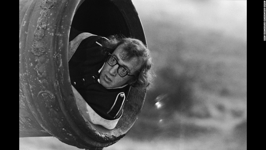 "Woody Allen prepares to be fired from a cannon during filming of his comedy ""Love and Death"" in November 1974. The photo was taken by Ernst Haas, one of the 20th century's great photojournalists. A new book, ""Ernst Haas: On Set,"" compiles Haas' photos from the film industry."