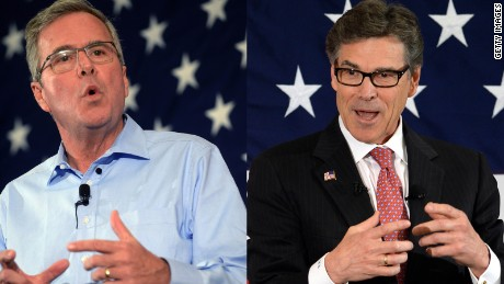 Split of Jeb Bush and Rick Perry speaking in New Hampshire