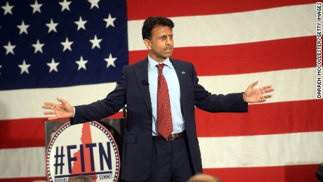 NASHUA, NH - APRIL 18: Louisiana Gov. Bobby Jindal speaks at the First in the Nation Republican Leadership Summit April 18, 2015 in Nashua, New Hampshire. The Summit brought together local and national Republicans and was attended by all the Republicans candidates as well as those eyeing a run for the nomination. (Photo by Darren McCollester/Getty Images)