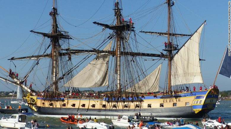 Replica of 18th century French ship sets sail for U.S.