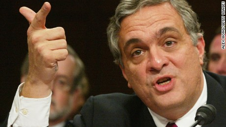 CIA Director George Tenet makes a point as he testifies April 14, 2004 during the second day of the 10th public hearing on the performance of law enforcement and the intelligence community prior to the September 11, 2001 attacks before the National Commission on Terrorist Attacks.