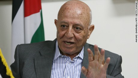 Palestinain chief negotiator Ahmed Qorei speaks during a press conference at his office in the West Bank Jerusalem suburb of Abu Dis on March 15, 2010. (Photo credit: AHMAD GHARABLI/AFP/Getty Images)