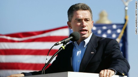 JERSEY CITY, NJ - OCTOBER 3:  New Jersey governor James McGreevey speaks during a rally for immigrant workers rights October 3, 2003 at Liberty State Park in Jersey City, New Jersey. Thousands of immigrants, legal and illegal, are marching on the region this weekend, demanding immigration reform.  (Photo by Chris Hondros/Getty Images)
