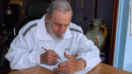 Handout picture released by Cuban official website www.cubadebate.cu, showing former Cuban president Fidel Castro voting during local elections held throughout Cuba, on April 19, 2015 in Havana. Cubans voted Sunday in local elections featuring two opposition candidates who could become the island's first non-Communist elected officials in decades.