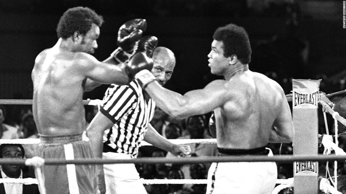 "People thought Ali was past it. People were wrong.<br /><br />The fight dubbed ""The Rumble in the Jungle"" was pushed back seven weeks after Foreman suffered a cut to the brow during training, but entering the ring he was still the favorite among critics, if not the crowd.<br /><br />In the baking heat of Zaire, Ali discovered the ring's canvas was too soft and lacked any spring. He reasoned it would be too energy-sapping to go in with his normal style, and so resorted to a tactic he later dubbed ""rope-a-dope."" Ali soaked up Foreman's attacks, offering little counter-punching until he knew the champion was suitably sapped. In the eighth round, after a particularly bruising exchange, Ali pounced, KO-ing an exhausted Foreman and claiming the WBC and WBA titles."