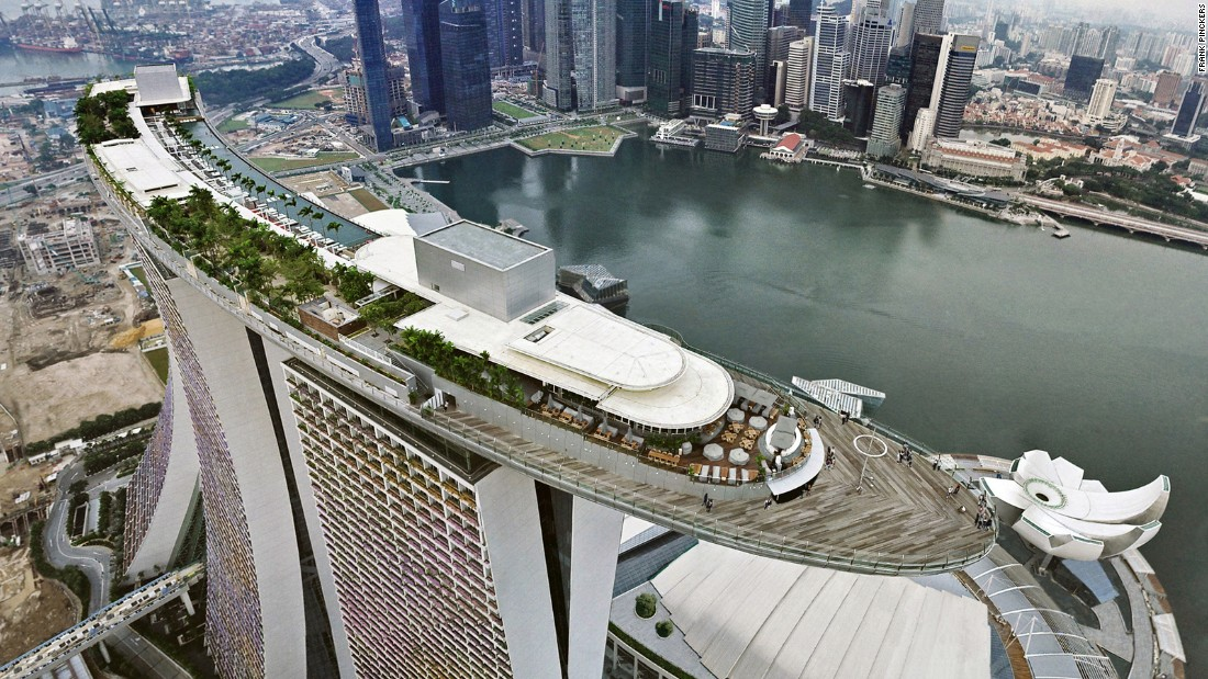 Designed by Moshe Safdie, and commissioned by Las Vegas Sands Corporation, the $5.7 billion Marina Bay Sands casino and hotel complex opened in 2010. It's reputed to be one of the world's most expensive buildings.
