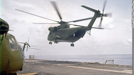 A powerful CH-53 Sea Stallion helicopter departs the USS Hancock to evacuate Saigon in April, 1975.