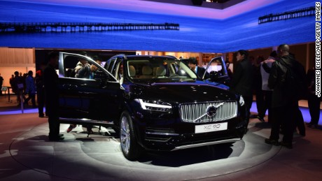A Volvo XC90 is displayed at the 16th Shanghai International Automobile Industry Exhibition in Shanghai on April 20, 2015.