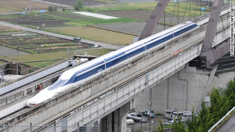 A Japanese maglev train during a test run.