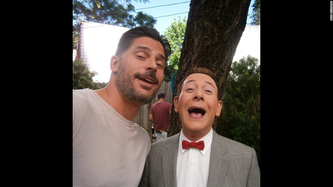 "Pee-wee Herman -- played by actor Paul Reubens, right -- <a href=""https://instagram.com/p/1ll_-JzY5x/?taken-by=peeweeherman"" target=""_blank"">opened his Instagram account</a> with a selfie next to actor Joe Manganiello on Friday, April 17. The two are shooting the movie ""Pee-wee's Big Holiday."""