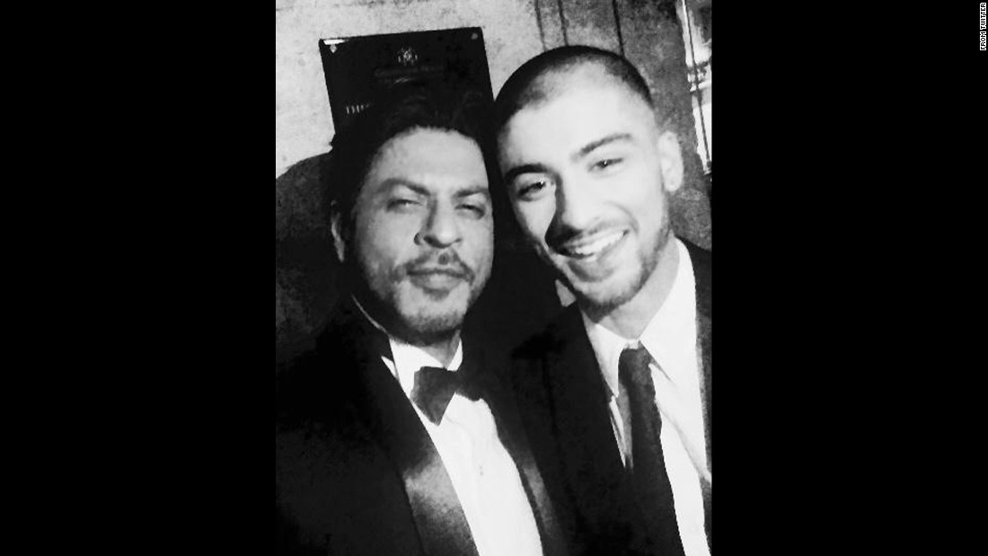 "Shah Rukh Kahn, an actor nicknamed the ""King of Bollywood,"" <a href=""https://twitter.com/iamsrk/status/589164454480191488"" target=""_blank"">tweeted a selfie</a> with former One Direction star Zayn Malik, right, at the Asian Awards in London on Friday, April 17. ""This kid is so cool,"" Khan said. ""May Allah bless him."" It has already been retweeted 110,000 times."