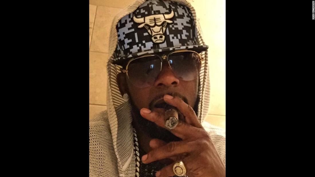 """Bulls Win!"" <a href=""https://instagram.com/p/1uHV1UokWw/?taken-by=rkelly"" target=""_blank"">said singer R. Kelly</a> as he wears the basketball team's logo on Monday, April 20. The Chicago Bulls had just defeated Milwaukee in Game 2 of their NBA playoff series."