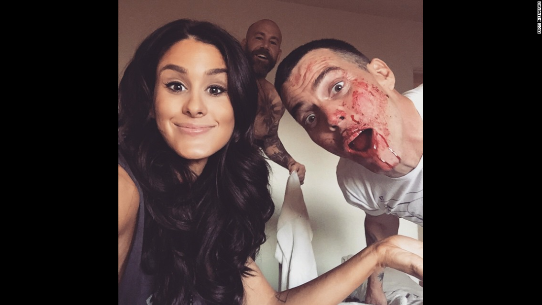 "Comedian Brittany Furlan said she was <a href=""https://instagram.com/p/1t-xyKw-uv/?taken-by=brittanyfurlan"" target=""_blank"">""up to no good""</a> Monday, April 20, with music producer Nik Nikateen, center, and entertainer Steve-O."