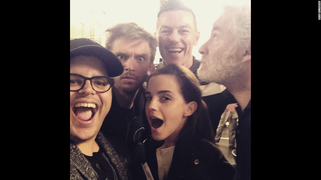 "Actor Josh Gad, left, <a href=""https://instagram.com/p/1dzUfljvmK/?taken-by=joshgad"" target=""_blank"">posted this selfie</a> with Emma Watson and others who will be starring with him in Disney's live-action film ""Beauty and the Beast."" ""Can't wait for you to be our guest,"" Gad said on Instagram on Tuesday, April 14. Behind Gad and Watson, from left, are actors Dan Stevens, Luke Evans and Kevin Kline."