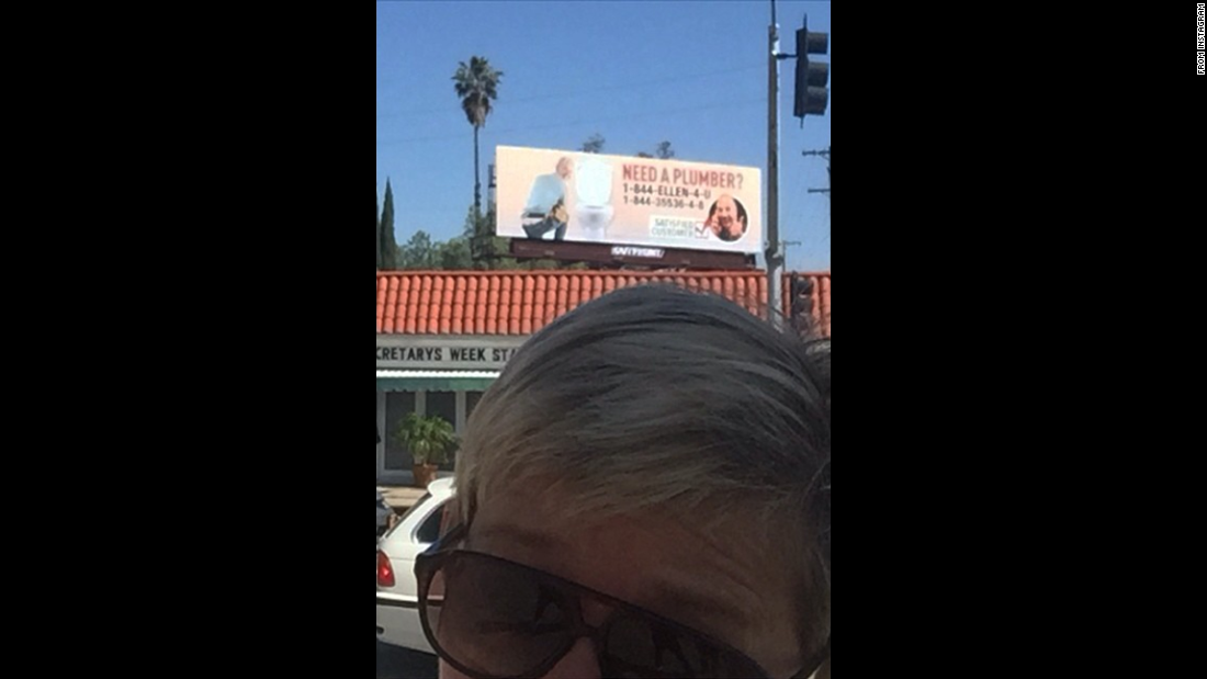 """Look what I saw on my way to work today,"" <a href=""https://instagram.com/p/1i_-6QtjNk/?taken-by=theellenshow"" target=""_blank"">said talk-show host Ellen DeGeneres,</a> who has been in a prank war with ""Today"" show host Matt Lauer. ""Good one, @MattLauerNBC. #MattsRevenge."" If you can't quite make it out, that's DeGeneres' face on a billboard for a fake plumbing company."