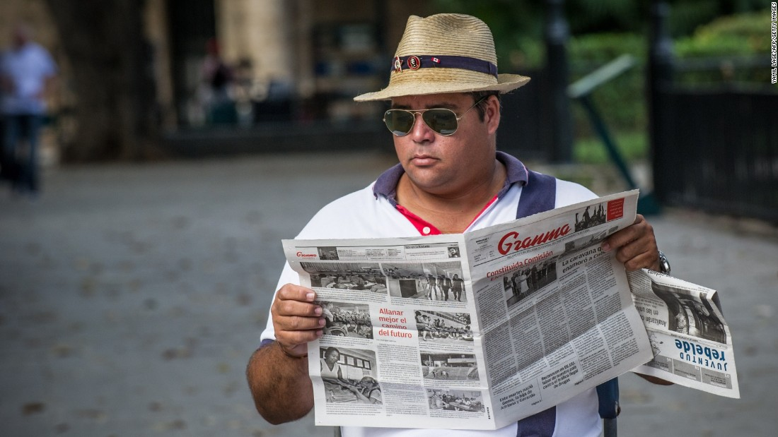 "A man in Cuba reads the state newspaper ""Granma,"" but he may soon have access to more news and entertainment from the United States. After 54 years, the United States and Cuba restored diplomatic relations in 2015. In August, Secretary of State John Kerry officially <a href=""http://www.cnn.com/2015/08/14/politics/cuba-embassy-opening-john-kerry-visit/index.html"">reopened</a> the U.S. Embassy in the Caribbean island nation."