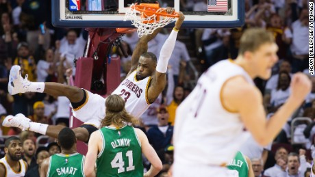 CLEVELAND, OH - APRIL 21: LeBron James #23 of the Cleveland Cavaliers dunks in the second half against the Boston Celtics in Game Two of the Eastern Conference Quarterfinals during the 2015 NBA Playoffs 2015 at Quicken Loans Arena on April 21, 2015 in Cleveland, Ohio. The Cavaliers defeated the Celtics 99-91. NOTE TO USER: User expressly acknowledges and agrees that, by downloading and or using this photograph, User is consenting to the terms and conditions of the Getty Images License Agreement. (Photo by Jason Miller/Getty Images)