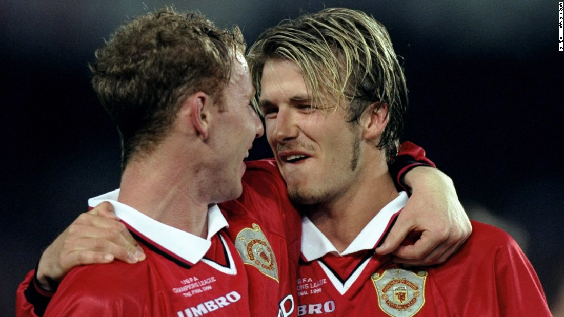 Beckham's most glorious achievement at Manchester United came when the club won a treble of trophies in 1999, capped by a last-gasp win over Bayern Munich in the Champions League final. United came from behind to triumph 2-1, with both goals scored in stoppage time and resulting from Beckham's corners.