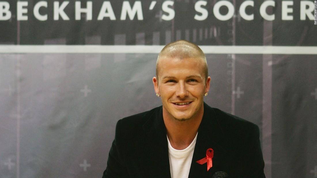 "After leaving Manchester United for Real Madrid in 2003, his follicles were regularly the focus of media attention. Here a shaven-headed Beckham promotes his first official training skills DVD -- ""Really Bend It Like Beckham,"" a title referring to the 2002 British film starring a young Keira Knightley as an aspiring footballer."