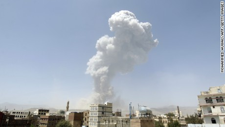 "Smoke billows from the Fajj Attan Hill following a reported airstrike by the Saudi-led coalition on an army arms depot, now under Huthi rebel control, on April 20, 2015, in Sanaa. The UN this week called the humanitarian crisis in Yemen one of the ""largest and most complex in the world."""