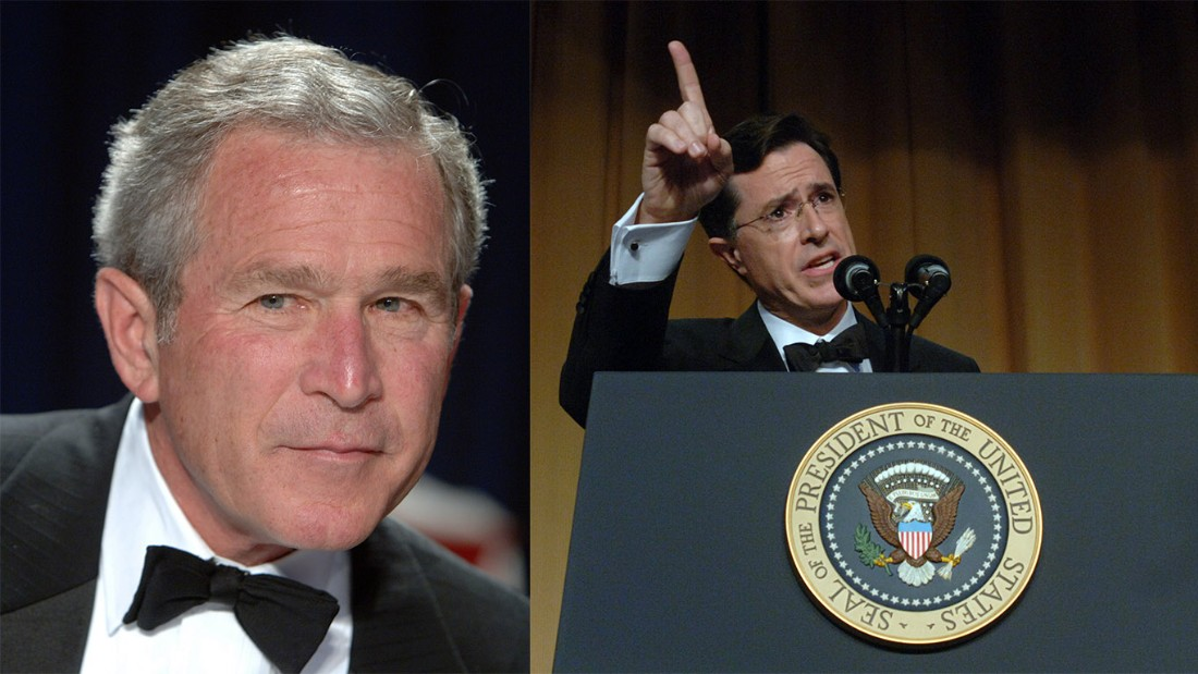 "In one of the most brutal presidential roasts, comedian Stephen Colbert tore into President George W. Bush's foreign policy in 2006, hammering the 43rd President over the Iraq War. ""I believe the government that governs best is the government that governs least,"" Colbert deadpanned, ""and by these standards, we have set up a fabulous government in Iraq."" Some Bush supporters left the room."