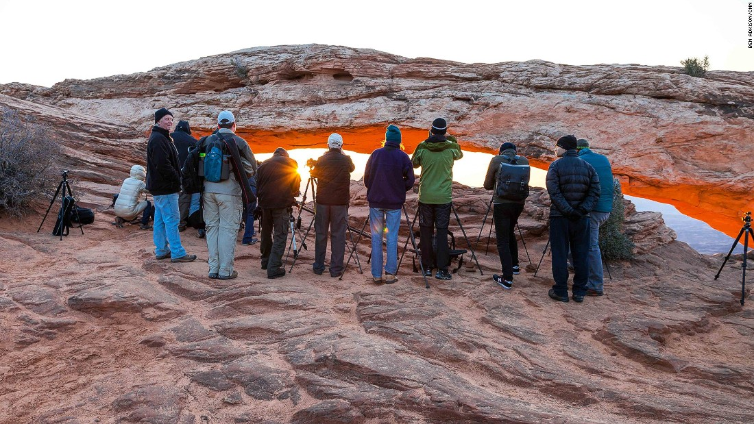 To get the classic shot you should arrive at least an hour before sunrise to stake our prime photography real estate in front of the arch. If you aren't here in time, a line of tripods and photographers will almost certainly block any chance of getting your classic Mesa Arch photo.