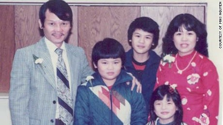 Ba Van Nguyen, left, with his wife, Nho, and sons Miki and Mika and daughter Mina, not long after surviving their dangerous passage to America in 1975.