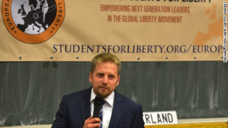 Vit Jedlicka, a 31-year-old Czech politician, presents his vision of Liberland at a talk in Prague.