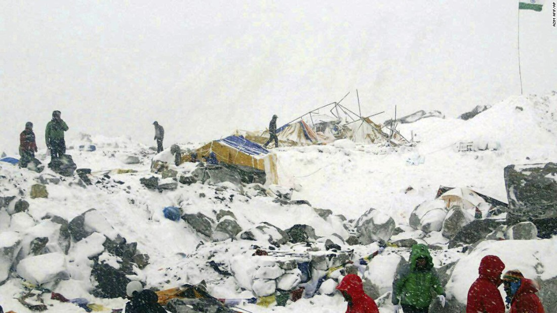 Azim Afif, of the Universiti Teknologi Malaysia climbing team, provided this photo of their Mount Everest base camp after it was ravaged by an avalanche triggered by the earthquake on April 25. All of Afif's five-member team survived.