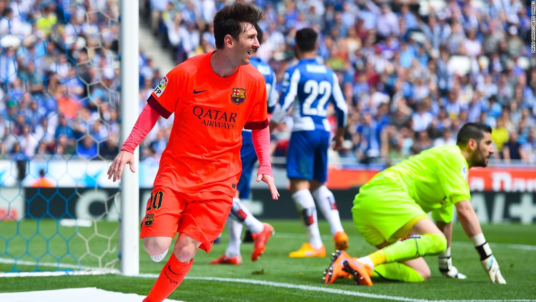 Messi scores his 47th goal this season as Barcelona extends its league lead to five points with a 2-0 win in the Catalan derby at Espanyol.