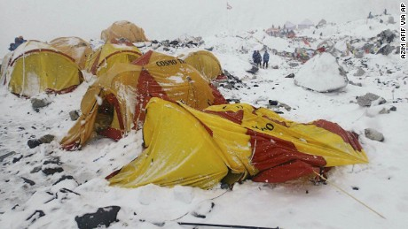 Everest Base Camp is seen after an avalanche triggered by a massive earthquake. Azim Afif, the photographer, and his team of four others from the Universiti Teknologi Malaysia (UTM) all survived the avalanche.