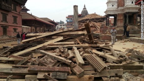 Kathmandu's Durbar Square after the 7.8 magnitude earthquake.