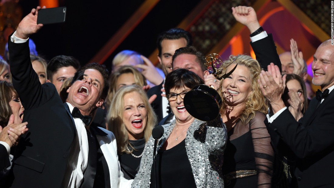 "The cast and crew of ""The Young and the Restless"" and ""Days of Our Lives"" accept the award for outstanding drama series at the 42nd annual Daytime Emmy Awards on Sunday, April 26."