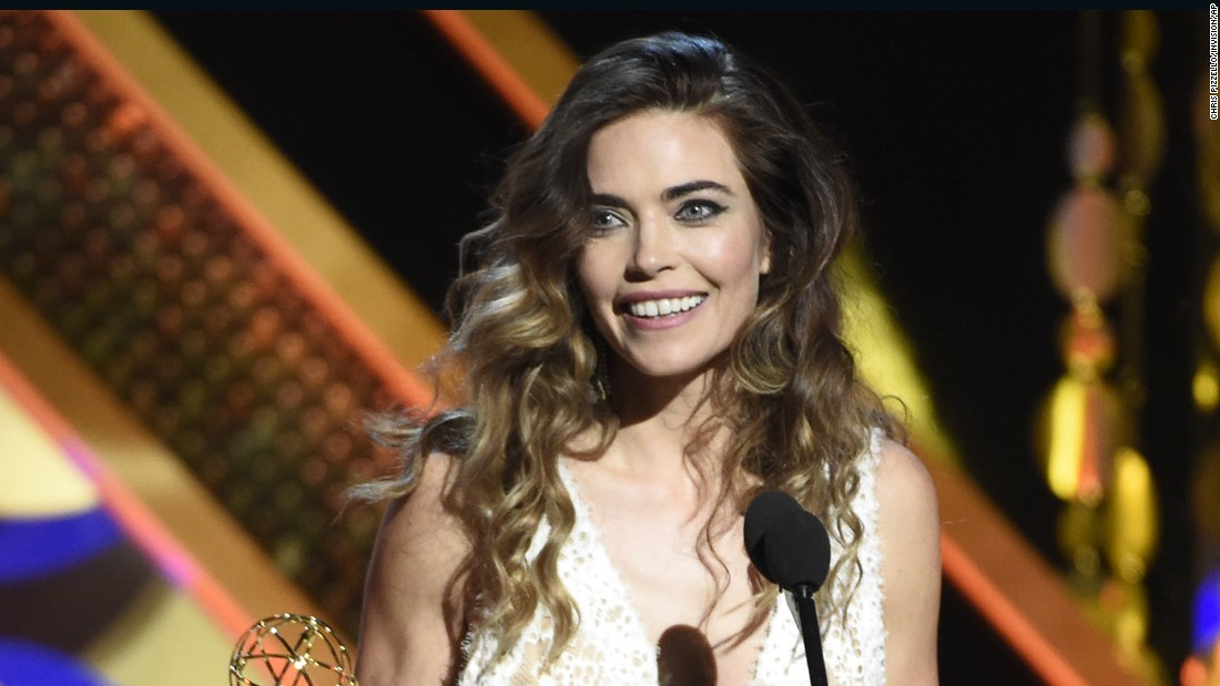 "Amelia Heinle accepts the award for outstanding supporting actress in a drama series for her role on ""The Young and the Restless."""