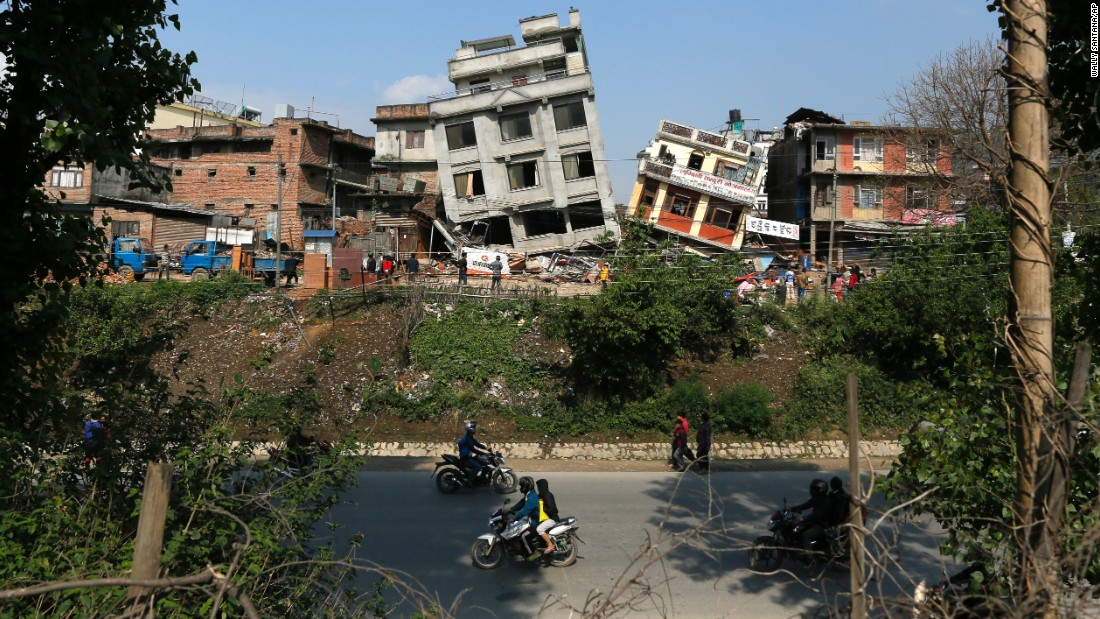 Damaged buildings lean to the side in Kathmandu on April 27.