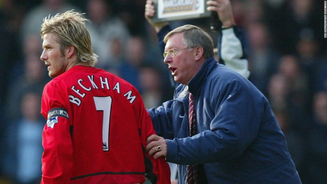 "Alex Ferguson brought Beckham into United's first team as part of the now venerated ""Class of '92"" youth side. They won six Premier League titles together but their relationship deteriorated as Beckham's celebrity persona blossomed -- and the Scottish manager's infamous kicking of a boot into the player's head in the Old Trafford dressing-room after an FA Cup defeat in 2003 precipitated his move to Real Madrid."