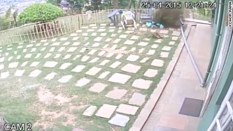 Surveillance footage of the recent Nepal earthquake