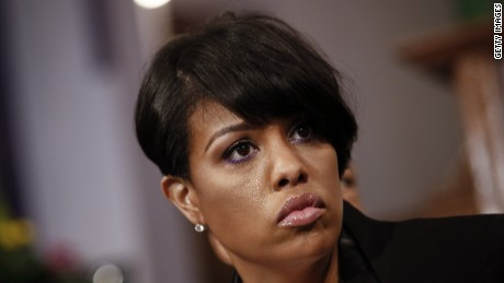 BALTIMORE, MD - APRIL 26: Baltimore Mayor Stephanie Rawlings-Blake takes questions at a news conference at Bethel AME Church, April 26, 2015 in Baltimore, Maryland. Rawlings-Blake discussed the recent unrest in Baltimore surrounding the death of Freddie Gray. Gray's funeral is scheduled for Monday morning. (Drew Angerer/Getty Images)