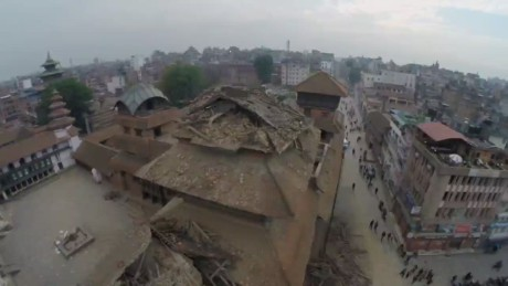 Drone video shows destruction in Nepal